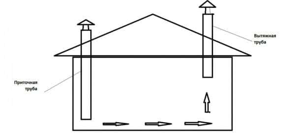 Простая схема вентиляции в курятнике естественным способом