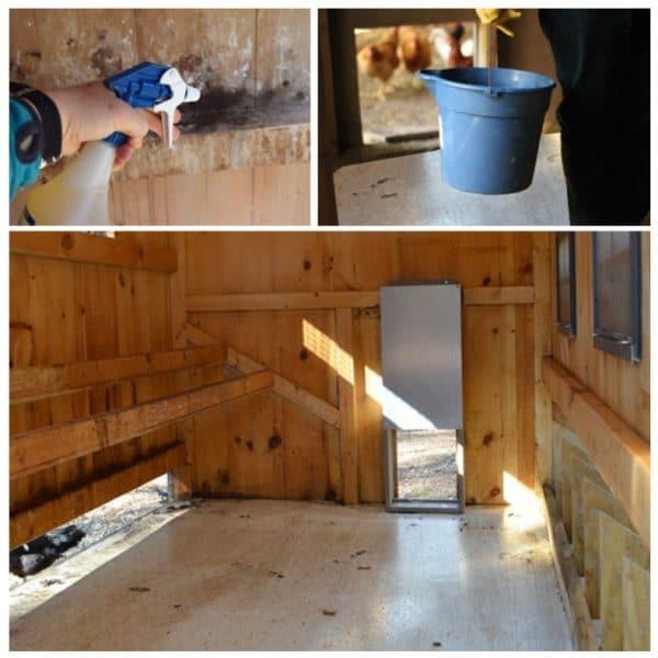 2 Этап. Мойка курятника. После удаления твердого мусора, стены, пол, насесты и гнезда тщательно моются. После дают курятнику хорошо просохнуть.