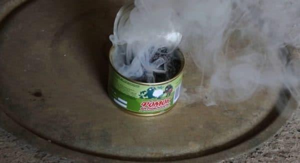 Дезинфекция курятника с помощью серной дымовой шашки