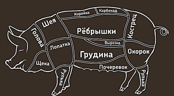 Разделка свиной туши: схема и описание