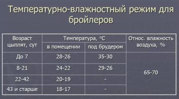 Температурно-влажностный режим для содержания цыплят-бройлеров в брудерах таблица