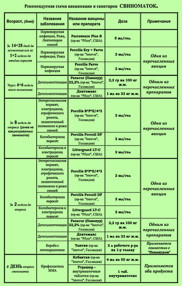 Схема вакцинации